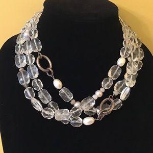 Silpada White Heat Beads. 3 Strands, Retired.